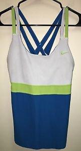 Women's Nike Fit Dry Blue white Green Built In Bra Tank Top lg Crisscross Back