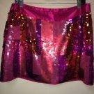 Women's NWT Express Design Studio Sequin Pink Orange Fushia Mini Skirt. Size 10