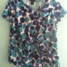 Women's size 14/16 Lane Bryant blue and white circular patterned blouse