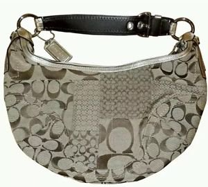 COACH Signature D0871-F12315 Patchwork Collection Hobo Handbag Purse - Brown