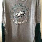 Women's Large Philadelphia Eagles Football Long Sleeve Shirt Grey Green