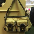 COACH L0894 F13102 Legacy Satchel Shoulder Bag Beige Fabric & Black Leather $348
