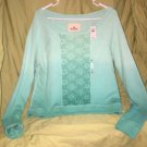 NWT $44 HOLLISTER Ladies Mint/teal Ombré LACE FRONT SWEATSHIRT SZ LARGE