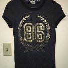 Victoria's Secret Pink Small Grey W Gold Bling T Shirt