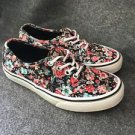 Women Size 6 Vans Off The Wall Shoes Black With Floral Print Multi Color Flowers