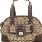 Coach Signature Jacquard Satchel Safari brown purse F13977