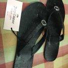 Juicy Couture Black Flip Flops Sandals Rhinestones Charm NWT  Sz Med 7/8