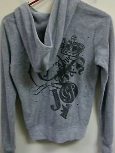 Womens Medium Gray Juicy Couture Zip Up Hoodie