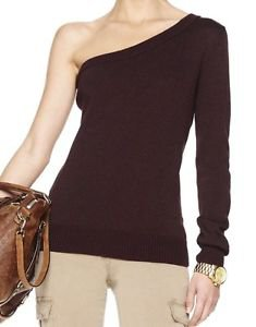 MICHAEL KORS BROWN/bark  Cotton Blend ONE SHOULDER SWEATER Lg