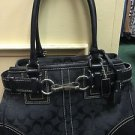 Auth COACH Hamptons black Signature Medium Carryall Tote Handbag #10245