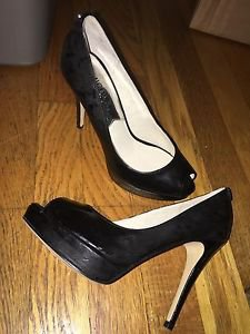 Women's Size 5.5 Black Smoke Michael Kors Platform Heels Pumps