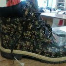 Vintage 90s Abstract Leather Lace Retro Timberland Combat Boots Camo Color