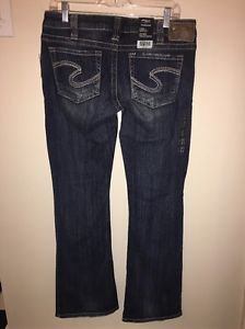 NWT Silver Jeans Co. Tuesday Low Rise Straight Fit Dark  30 L31 Bootcut RP$75