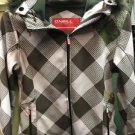 Women's Medium Pink Grey Plaid Winter Coat With Fur Hood