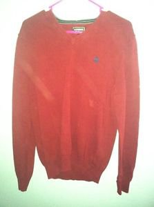 Men's Medium Dark Red Express V Neck Sweater
