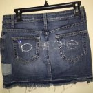 Bebe Sz 29 Short Jean Skirt Rhinestones Bling On Back