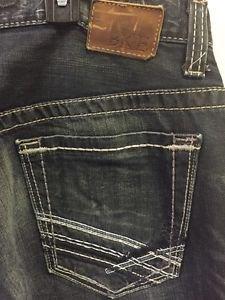 Mens Bke Carter Jeans Size 32/30 Dark Denim Wash Thick Stitch