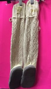 """Victorias Secret PINK Cream Muk Luks Sweater Boots Cable Pom Poms Gold """"P"""" Sz L"""
