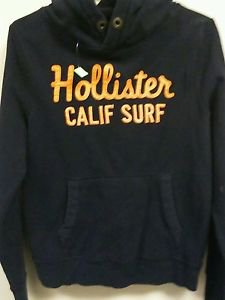 Mens Medium Navy blue orange  Hollister Pull over Hoodie