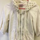 Juicy Couture Cream Off White  3/4 Sleeve Hoodie Embellished Hood Size Petite