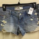NWT $40 Hollister Sz 5 Light Wash Destroyed Jean Shorts