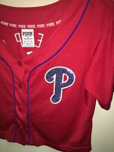Victoria's Secret Pink Xs Red Philadelphia Phillies Button Up Crop Bling Jersey