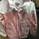 Columbia Sportswear Youth Pink And White Zip Up Windbreaker Coat Size 14/16.