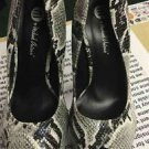 Michael Antonio White & Black Snakeskin Print Platform Stiletto Heels 7
