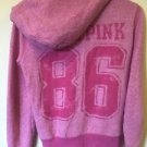 Women's Small Pink Victoria's Secret Love Pink Zip Up Hoodie Sweatshirt