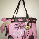 NWT Pink Brown Juicy Couture XL Purse Viva La Juicy