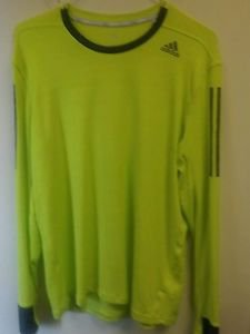 Mens Large Neon Green Adidas Long Sleeve Shirt Bright Green/gray