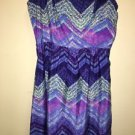 American Eagle Size 0 Purple Blue Aqua Chevron Dress Spaghetti Strap