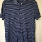 Men's Large Blue Striped Fitted Express Polo T Shirt Short Sleeve
