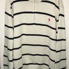 Men's Xxl White Black Stripe Polo Ralph Lauren Pullover Half Zip Sweater