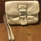 Authentic Michael Kors White Leather Wristlet Clutch Zip Around Flap Close