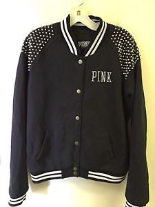 Victoria's Secret Pink Medium Black Varsity Jacket Coat Studded ShoulderS
