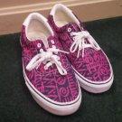 Men Vans shoes pink blue and white canvas boat shoes size 11