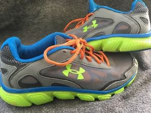 Under Armour Pulse Running Shoes Micro Grey Green Blue Youth 5.5 1242038-019