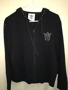 CROWN & ANCHOR COUTURE Womens Black Beaded Full Zip Hoodie Sweatshirt XL