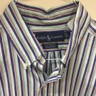 Mens Large Custom Fit Ralph Lauren Button Up Shirt Blue Green Orange Stripe