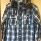 Mens Medium Hollister Button Down Shirt Blue Plaid Hooded Long Sleeve Shirt