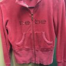 Women's Medium Red Bebe Velore Zip Up Hoodie Jacket Sweater- Rhinestones Bling