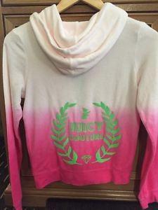 NWT JUICY COUTURE Hoodie Terry Tropical Rainbow Pink Girls Lg(14)women Xs