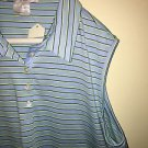 Womens  Extra-Large Nike Golf Dry Fit Sleeveless Polo Tank Blue Green Striped