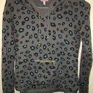 JUICY COUTURE GRAY Animal PRINT HOODIE HOODED Shirt Size Small