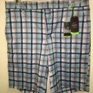 NWT Men's Sz 30 Slim Fit Greg Norman Shark Blue Plaid Golf Shorts