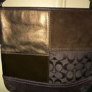 AUTH COACH Brown Signature Patchwork Slim Duffle Crossbody F104021 Handbag