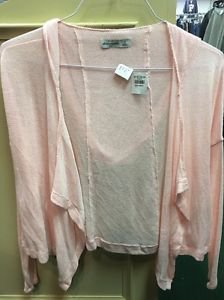 Abercrombie Kids Girls Medium Light Pink Cascade Cardigan Open Sweater Hood  NWT