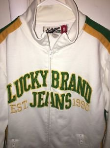 Lucky Brand Jeans Men's Medium White Green Yellow Zip Up Sweatshirt Track Jacket