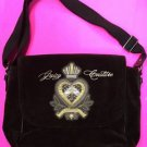 Large Brown Velour Juicy Couture Purse Laptop Bag Diaper Bag Crossbody Bookbag